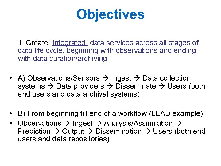"""Objectives 1. Create """"integrated"""" data services across all stages of data life cycle, beginning"""