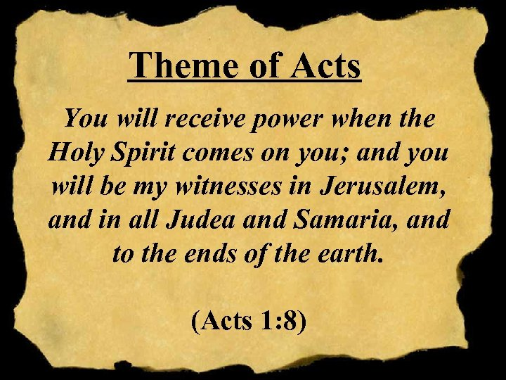Theme of Acts You will receive power when the Holy Spirit comes on you;