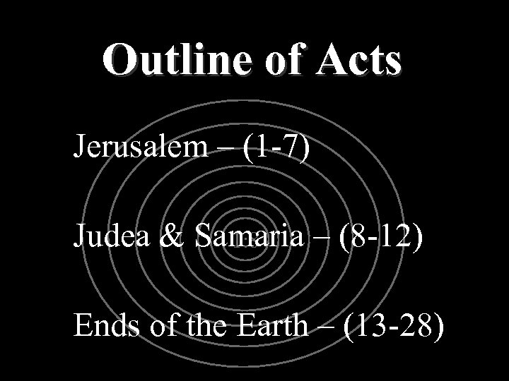 Outline of Acts Jerusalem – (1 -7) Judea & Samaria – (8 -12) 1: