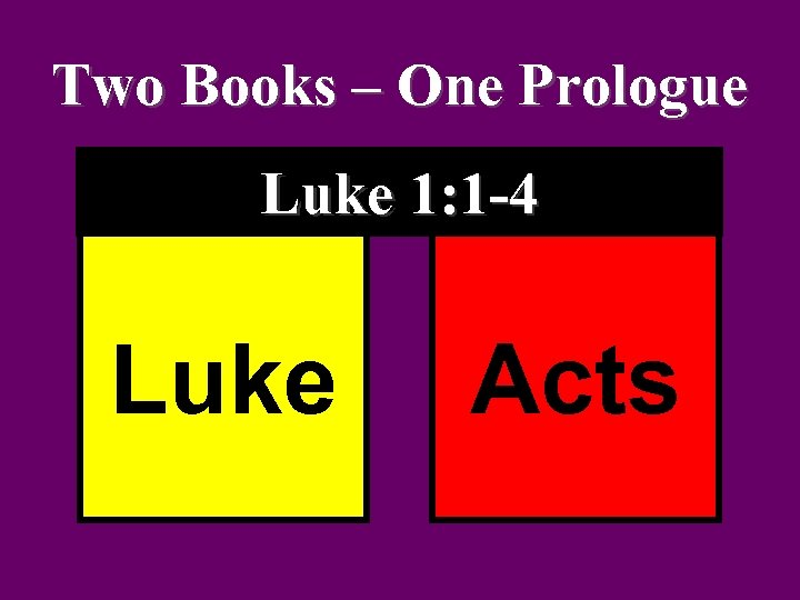 Two Books – One Prologue Luke 1: 1 -4 Luke Acts