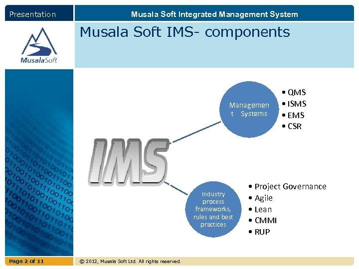 Presentation Musala Soft Integrated Management System Musala Soft IMS- components Managemen t Systems Industry