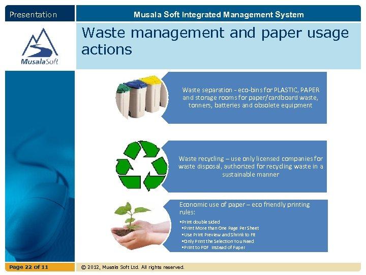 Presentation Musala Soft Integrated Management System Waste management and paper usage actions Waste separation