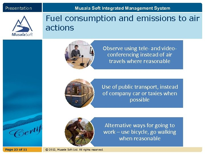Presentation Musala Soft Integrated Management System Fuel consumption and emissions to air actions Observe