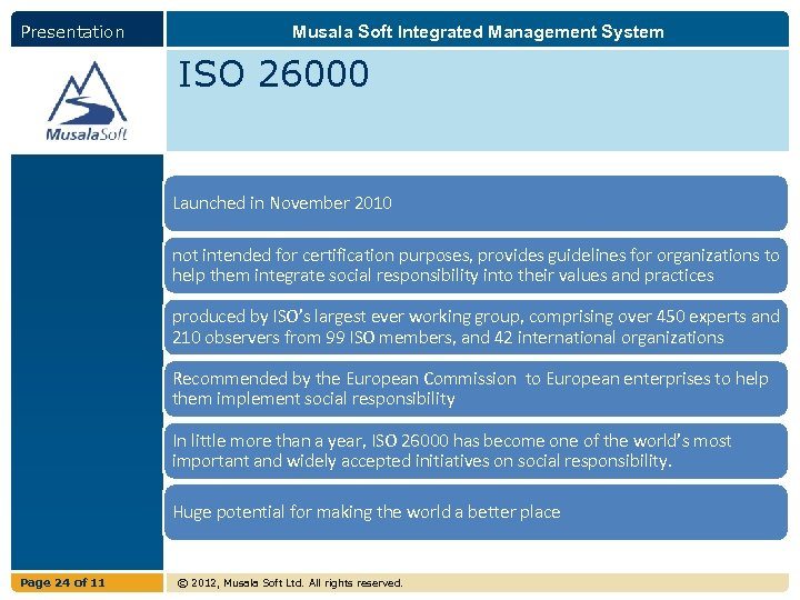Presentation Musala Soft Integrated Management System ISO 26000 Launched in November 2010 not intended