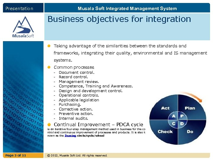 Presentation Musala Soft Integrated Management System Business objectives for integration Taking advantage of the