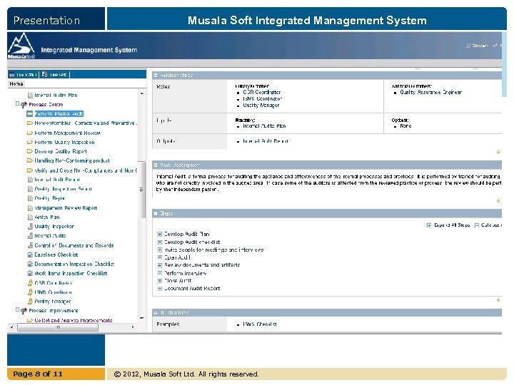 Presentation Page 8 of 11 Musala Soft Integrated Management System © 2012, Musala Soft
