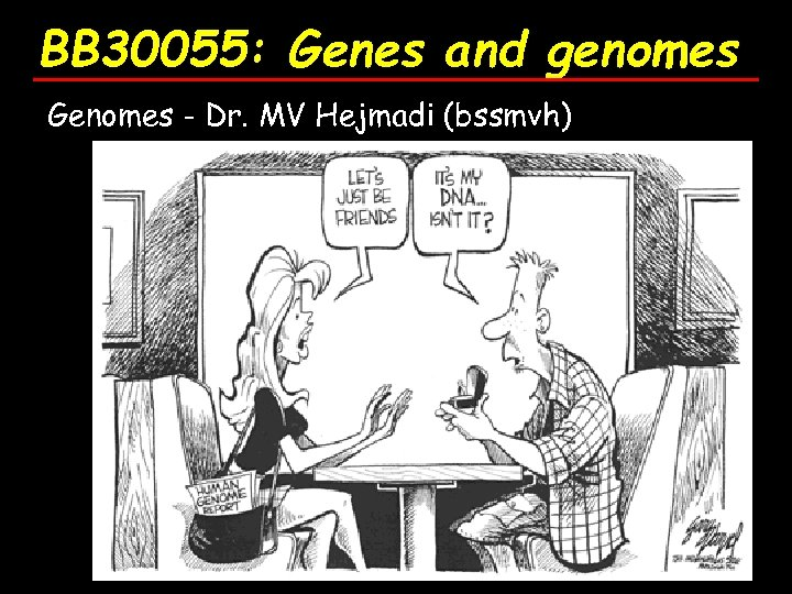 BB 30055: Genes and genomes Genomes - Dr. MV Hejmadi (bssmvh)