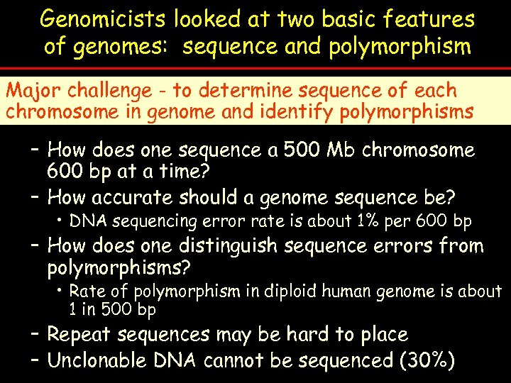 Genomicists looked at two basic features of genomes: sequence and polymorphism Major challenge -
