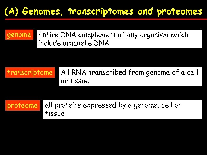(A) Genomes, transcriptomes and proteomes genome Entire DNA complement of any organism which include