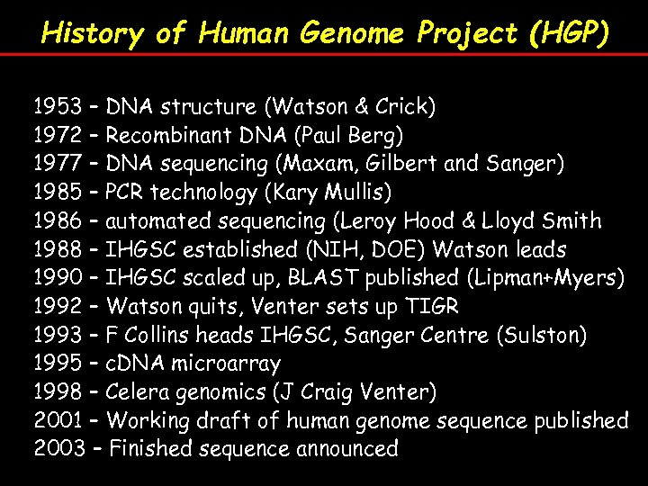 History of Human Genome Project (HGP) 1953 – DNA structure (Watson & Crick) 1972