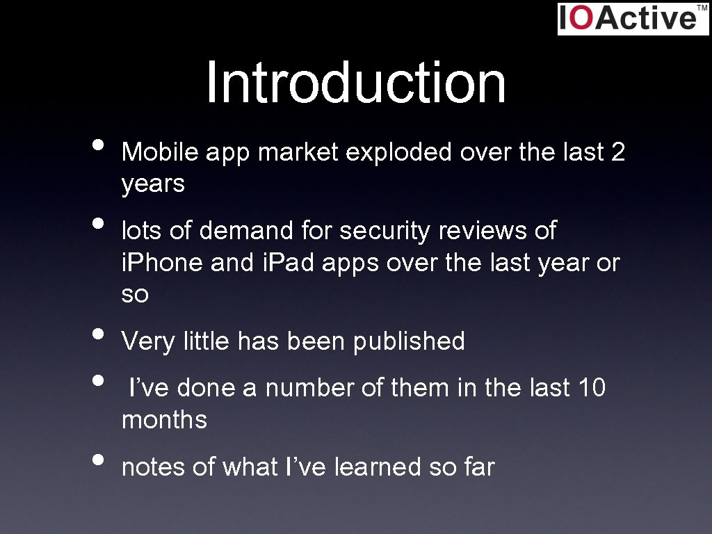 Introduction • • • Mobile app market exploded over the last 2 years lots