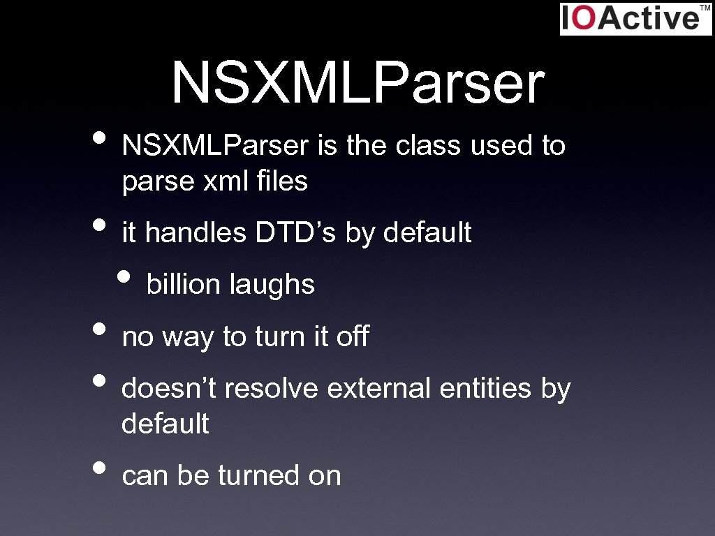 NSXMLParser • NSXMLParser is the class used to parse xml files • it handles