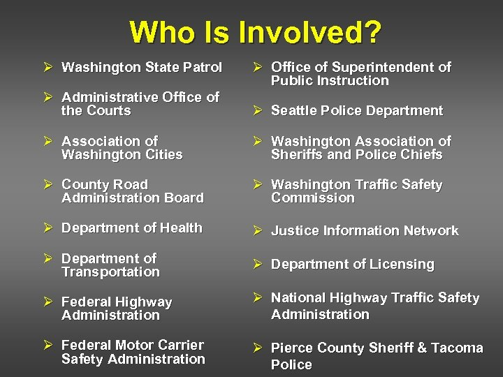 Who Is Involved? Ø Washington State Patrol Ø Office of Superintendent of Public Instruction