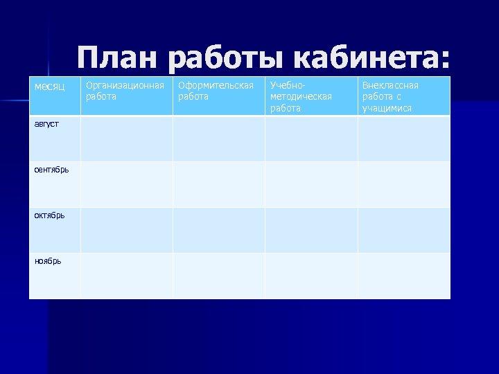 План работы кабинета: месяц август сентябрь октябрь ноябрь Организационная работа Оформительская работа Учебнометодическая работа