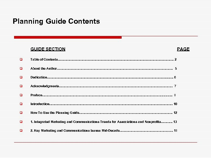 Planning Guide Contents GUIDE SECTION PAGE q Table of Contents……………………………………………… 2 q About the