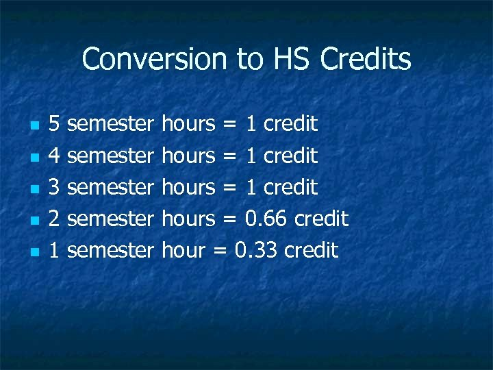 Conversion to HS Credits n n n 5 semester hours = 1 credit 4