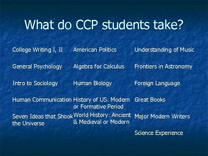 What do CCP students take? College Writing I, II American Politics Understanding of Music