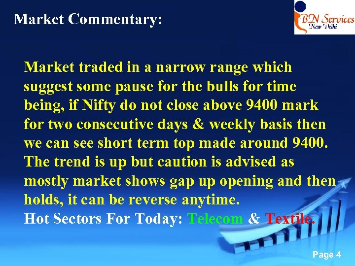 Market Commentary: Market traded in a narrow range which suggest some pause for the