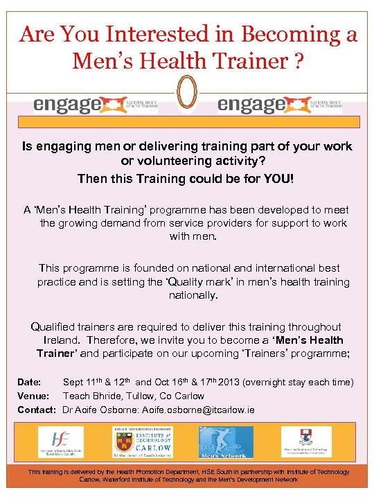 Are You Interested in Becoming a Men's Health Trainer ? Is engaging men or