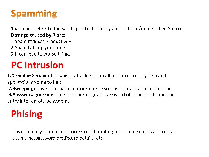 Spamming refers to the sending of bulk mail by an Identified/un. Identified Source. Damage