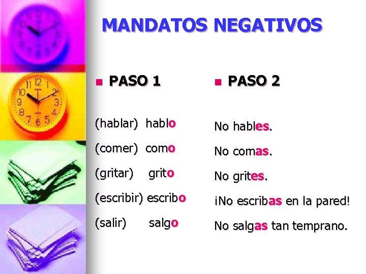 MANDATOS NEGATIVOS n PASO 1 n PASO 2 (hablar) hablo No hables. (comer) como