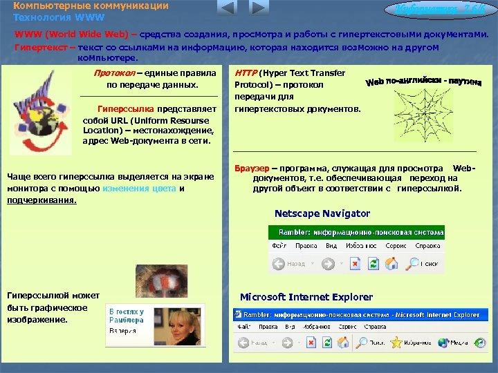 Компьютерные коммуникации Технология WWW Информатика 7. 6/6 WWW (World Wide Web) – средства создания,