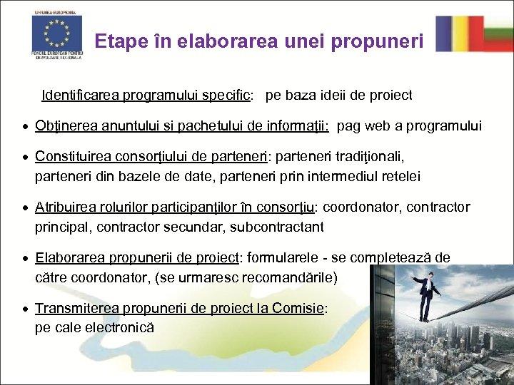 Etape în elaborarea unei propuneri Identificarea programului specific: pe baza ideii de proiect ·