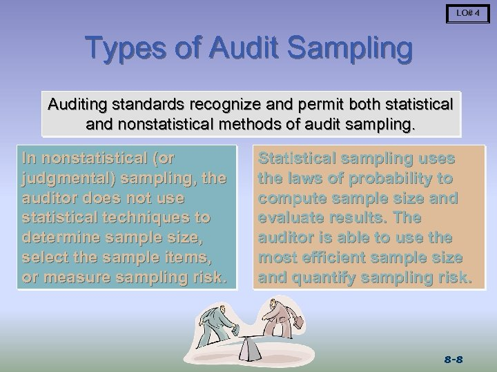 LO# 4 Types of Audit Sampling Auditing standards recognize and permit both statistical and
