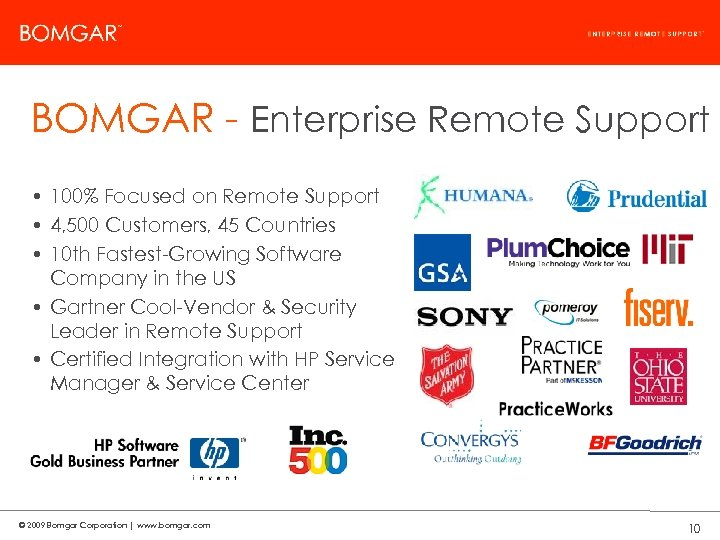 Bomgar Product Strategy BOMGAR - Enterprise Remote Support • 100% Focused on Remote Support