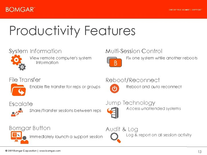 Bomgar Product Strategy Productivity Features System Information View remote computer's system information File Transfer