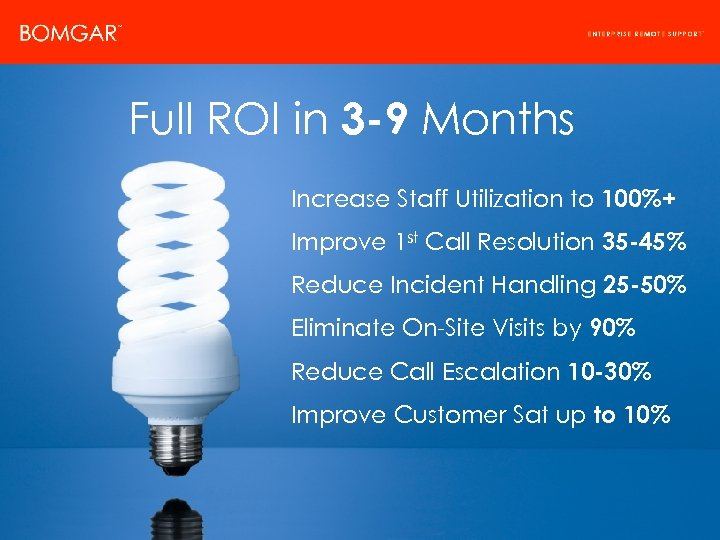 Bomgar Product Strategy Full ROI in 3 -9 Months Increase Staff Utilization to 100%+