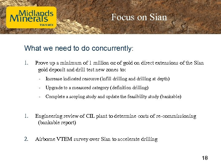 Focus on Sian What we need to do concurrently: 1. Prove up a minimum
