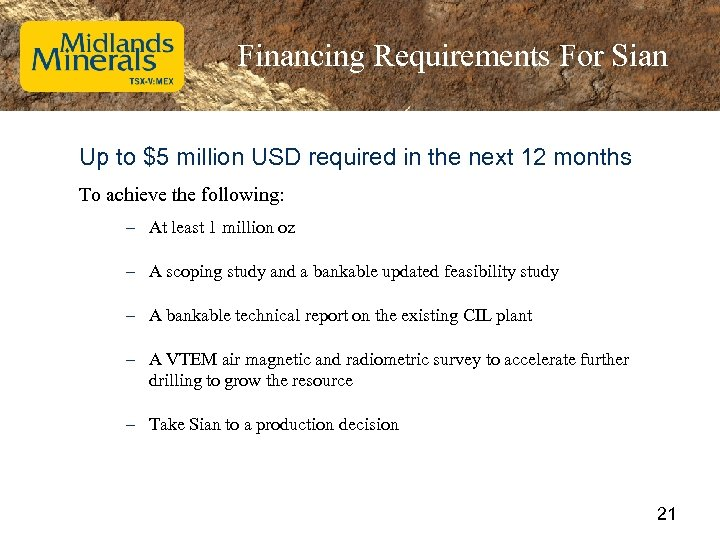 Financing Requirements For Sian Up to $5 million USD required in the next 12