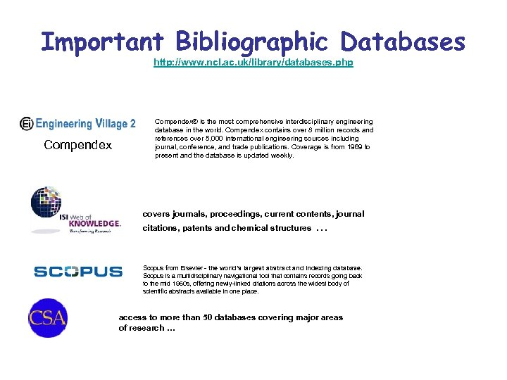 Important Bibliographic Databases http: //www. ncl. ac. uk/library/databases. php Compendex® is the most comprehensive