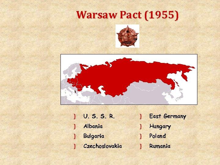 Warsaw Pact (1955) } U. S. S. R. } East Germany } Albania }