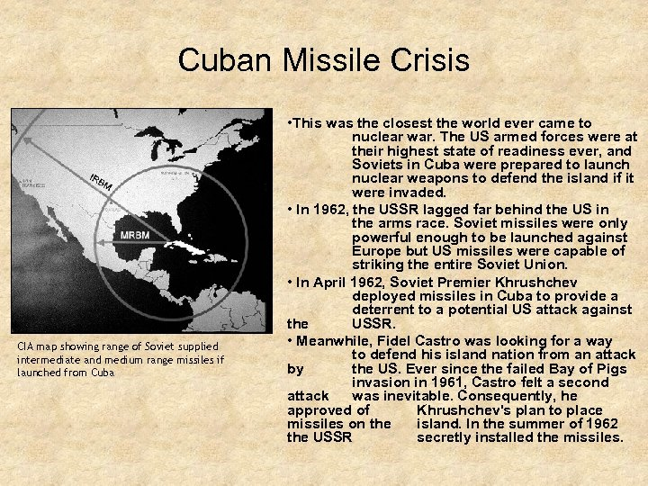 Cuban Missile Crisis CIA map showing range of Soviet supplied intermediate and medium range