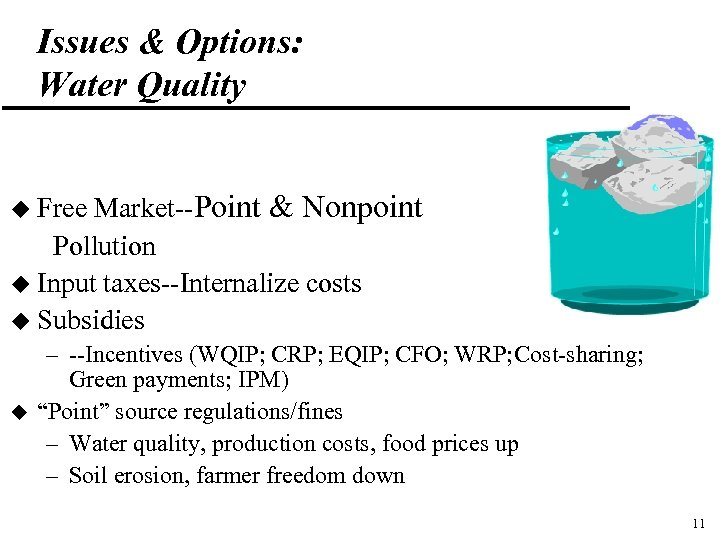 Issues & Options: Water Quality Market--Point & Nonpoint Pollution u Input taxes--Internalize costs u