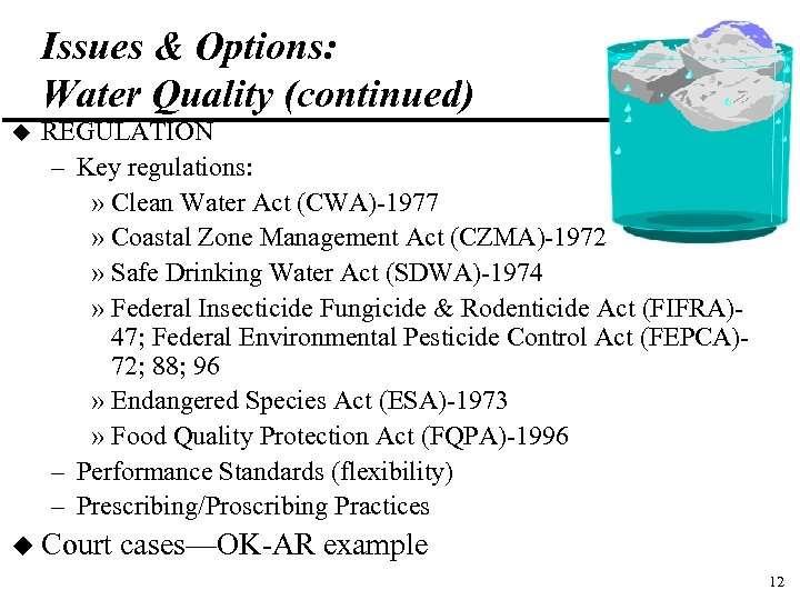 Issues & Options: Water Quality (continued) u REGULATION – Key regulations: » Clean Water