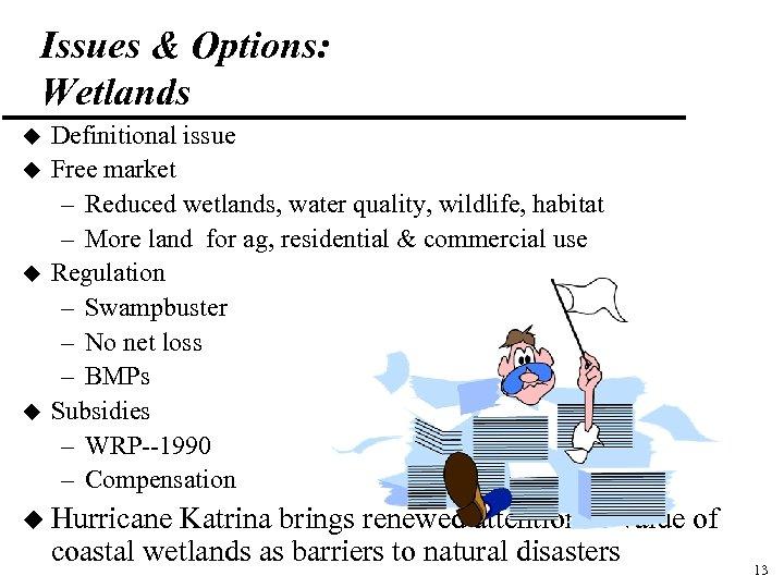 Issues & Options: Wetlands u u Definitional issue Free market – Reduced wetlands, water