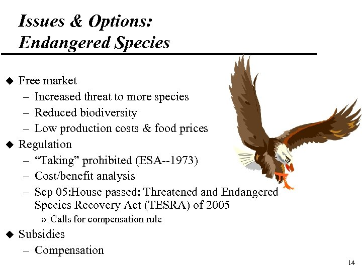 Issues & Options: Endangered Species u u Free market – Increased threat to more