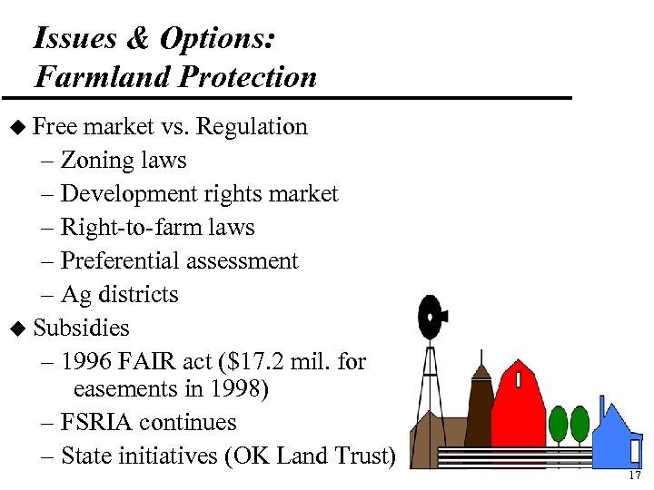 Issues & Options: Farmland Protection u Free market vs. Regulation – Zoning laws –