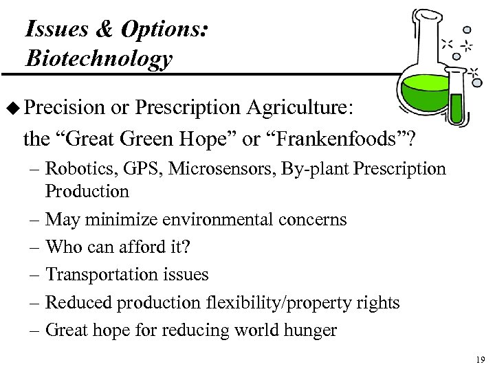 """Issues & Options: Biotechnology u Precision or Prescription Agriculture: the """"Great Green Hope"""" or"""