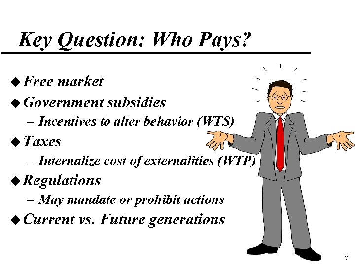 Key Question: Who Pays? u Free market u Government subsidies – Incentives to alter