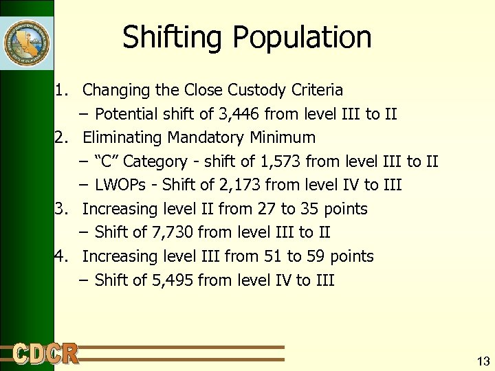Shifting Population 1. Changing the Close Custody Criteria – Potential shift of 3, 446