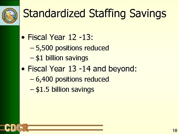 Standardized Staffing Savings • Fiscal Year 12 -13: – 5, 500 positions reduced –