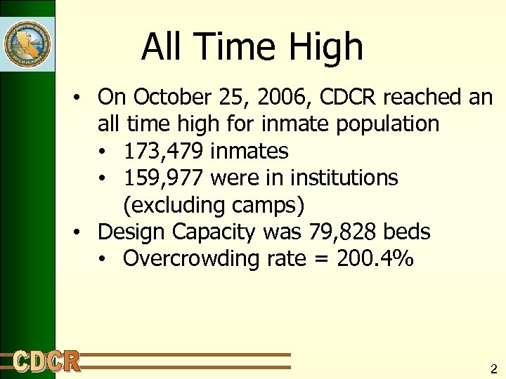 All Time High • On October 25, 2006, CDCR reached an all time high