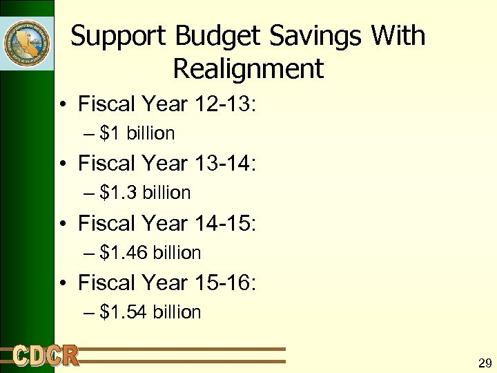 Support Budget Savings With Realignment • Fiscal Year 12 -13: – $1 billion •