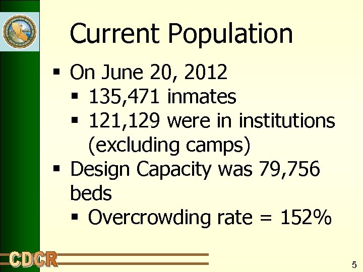 Current Population § On June 20, 2012 § 135, 471 inmates § 121, 129