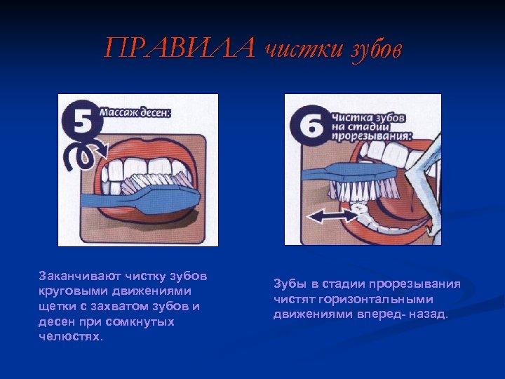 ПРАВИЛА чистки зубов Заканчивают чистку зубов круговыми движениями щетки с захватом зубов и десен