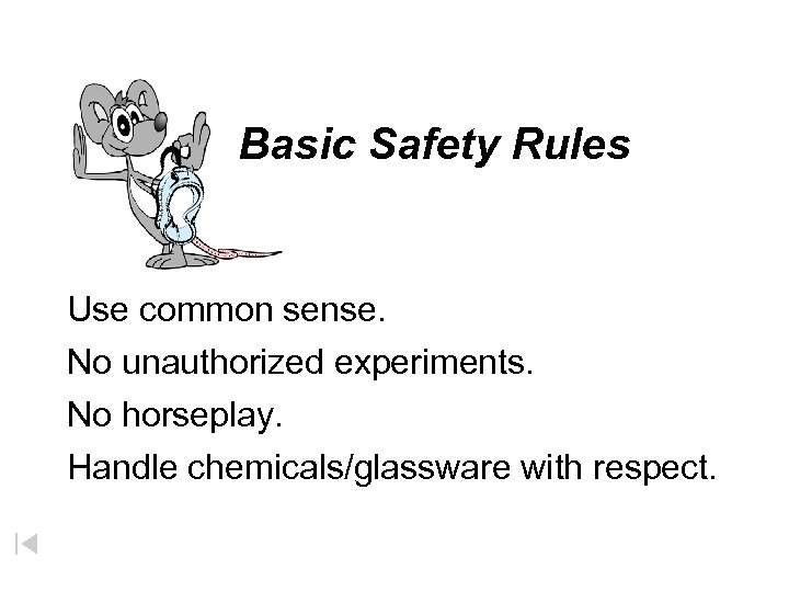 Basic Safety Rules Use common sense. No unauthorized experiments. No horseplay. Handle chemicals/glassware with